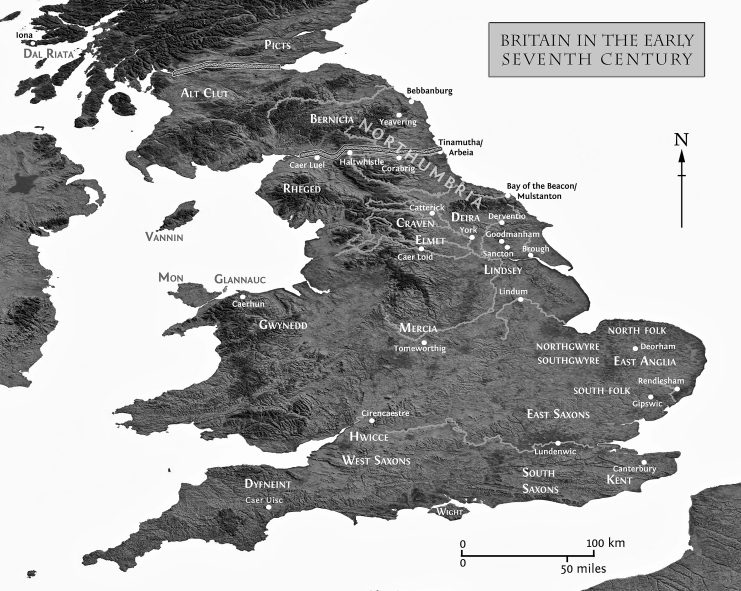 Black adn white relief map of Britain annotated with seventh-century polities and place names