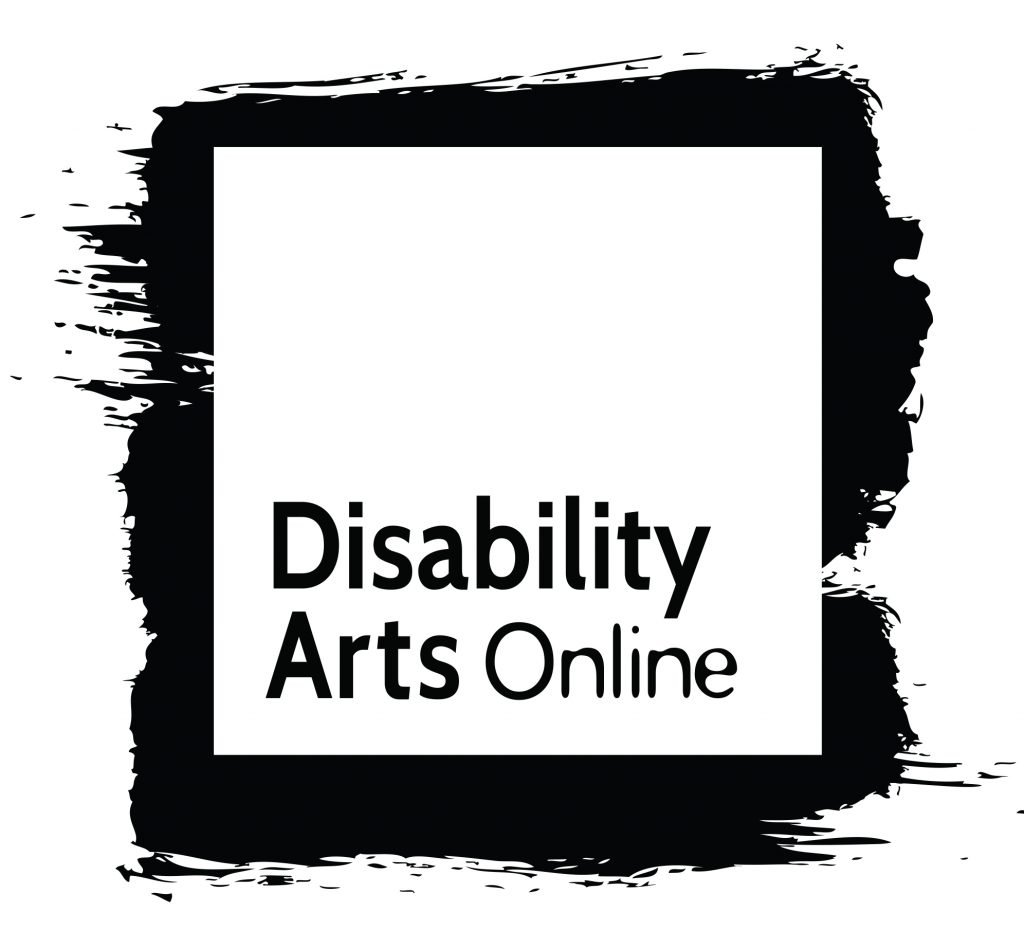 "Black painted background, white square, black text at the bottom of the square, ""Disability Arts Online."""