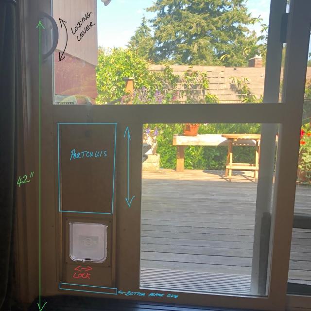 annotated photo of sliding door with cat door insert, shhowing the slider locking mechanism, the cat door locking mechanism, and home made portcullis