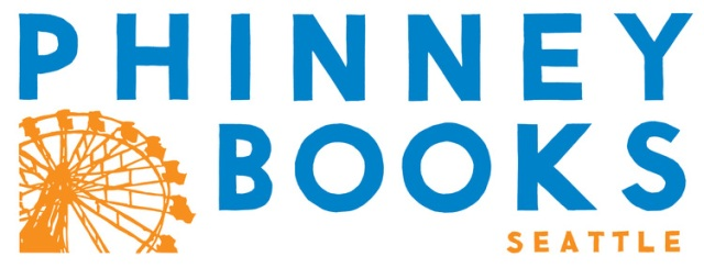 "White background, blue letters spelling ""Phinney Books"" with an image of a Big Wheel in gold at lower left"