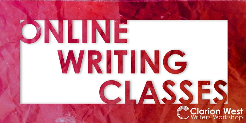 Rectangular graphic with white background and red borders and text in red, all caps: Online Writing Classes, with smaller Clarion West logo in white at bottom right.