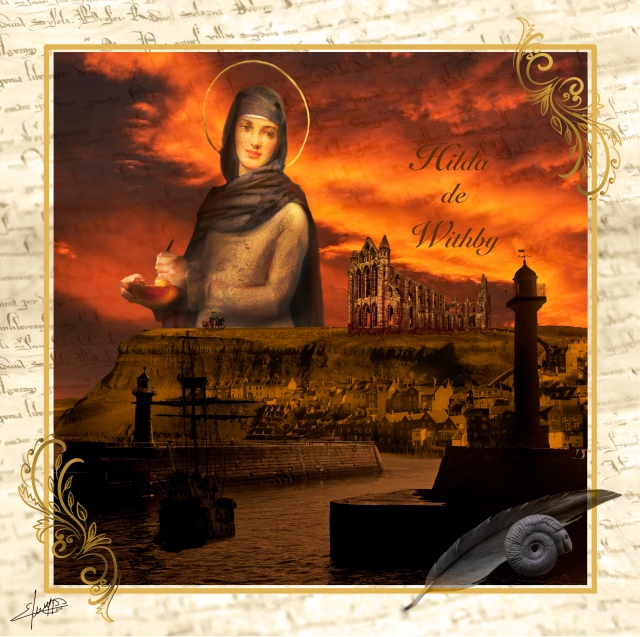 Photomontage of Whitby abbey on a cliff backlit by sunset, and the harbour below. Hild is superimposed on the cliff and sky:an image of a woman with a halo. At the lower right is a feather quill, and an ammonite.