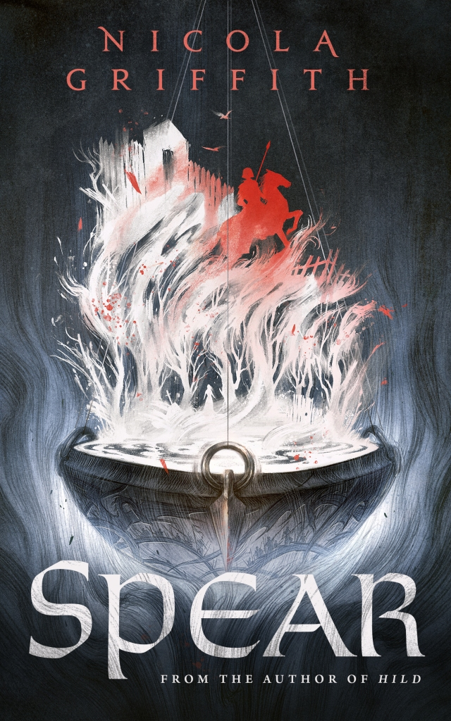 A book cover for Spear by Nicola Griffith. The background is charcoal, shading to black at the bottom, with the author's name at the top is orange-red and the title, at the bottom, and 'from the author Hild' in white. The main image is of a great hanging bowl ofblack iron with inlaid figures and great bronze escutcheons for the hanging hooks. It is wreathed about by smoke and flame and steam, and the steam forms images: in white, woods with a woman and a stone and a sword; about the trees, shading to orange, is an figure with a spear on a horse; a fort gate and box palisade, and over all, flying up in the smoke towards the author's name, two birds.
